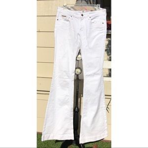 Burberry White Embroidered Back Pkt Flared Jeans